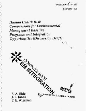 Primary view of object titled 'Human health risk comparisons for environmental management baseline program and integration opportunities (discussion draft)'.