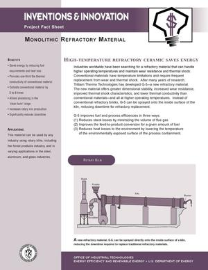 Primary view of object titled 'Inventions and Innovations fact sheet: Monolithic refractory material'.