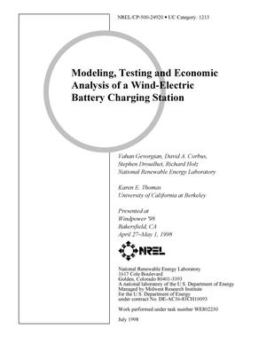 Primary view of object titled 'Modeling, testing and economic analysis of a wind-electric battery charging station'.