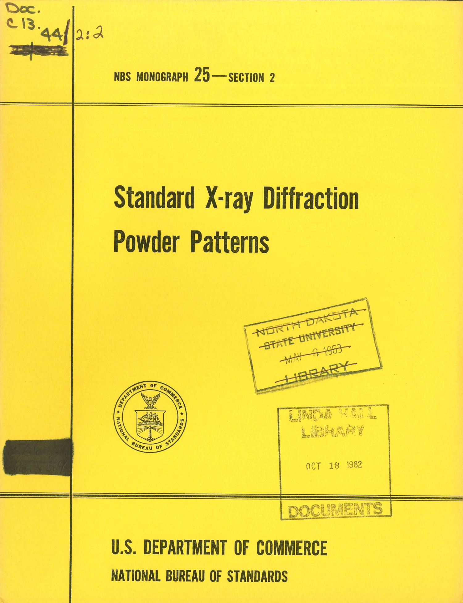 Standard X-ray Diffraction Powder Patterns: Section 2