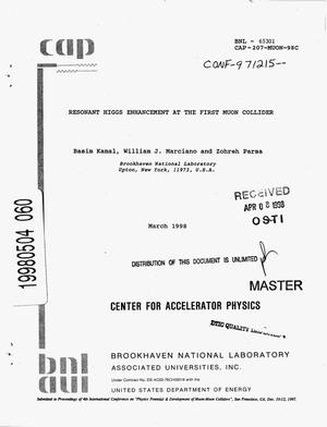 Primary view of object titled 'Resonant Higgs enhancement at the First Muon Collider'.