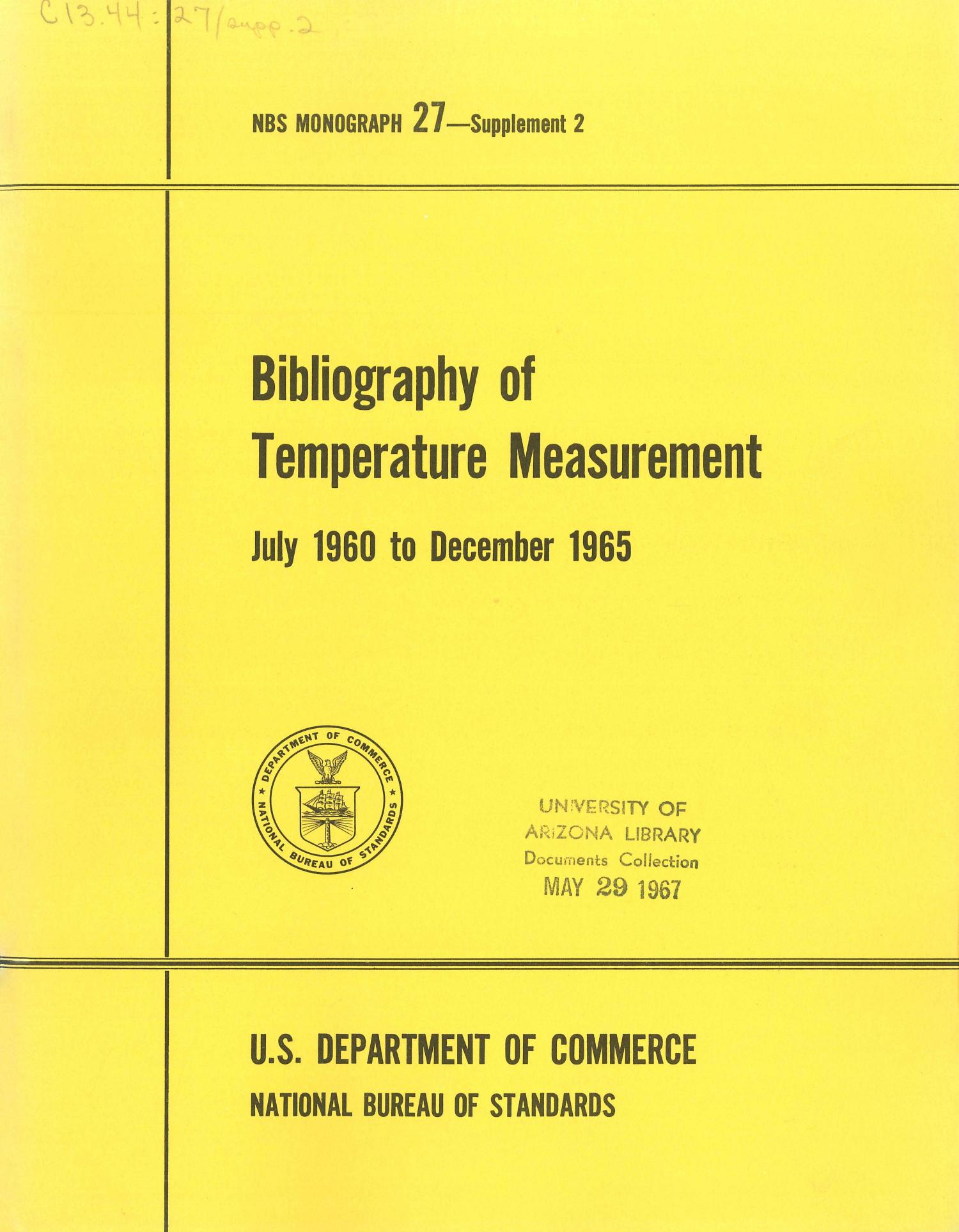 Bibliography of Temperature Measurement: July 1960 to December 1965                                                                                                      Front Cover