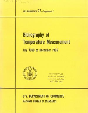 Primary view of object titled 'Bibliography of Temperature Measurement: July 1960 to December 1965'.