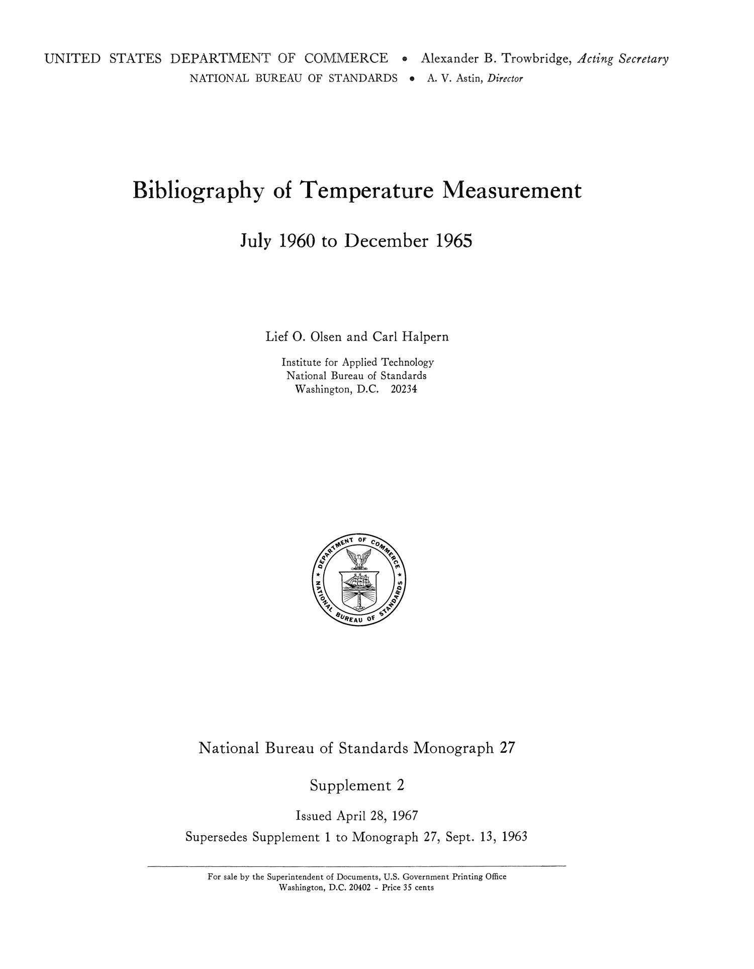 Bibliography of Temperature Measurement: July 1960 to December 1965                                                                                                      Title Page