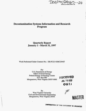 Primary view of object titled 'Decontamination systems information and research program. Quarterly report, January 1--March 31, 1997'.