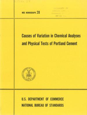Primary view of object titled 'Causes of Variation in Chemical Analyses and Physical Tests of Portland Cement'.