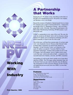 Primary view of object titled 'NREL PV working with industry, 1st Quarter 1999'.