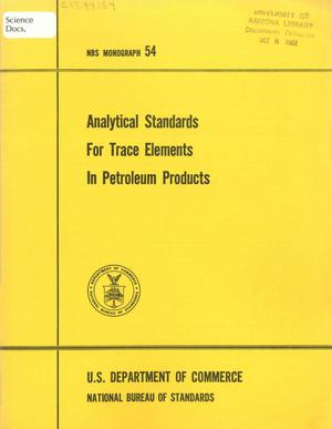 Primary view of object titled 'Analytical Standards for Trace Elements in Petroleum Products'.