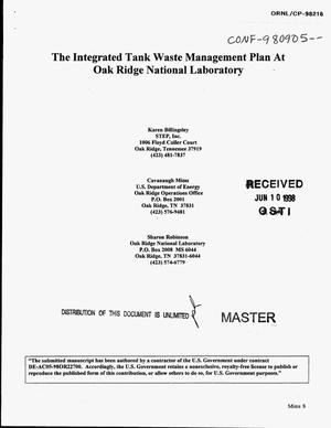 Primary view of object titled 'The integrated tank waste management plan at Oak Ridge National Laboratory'.