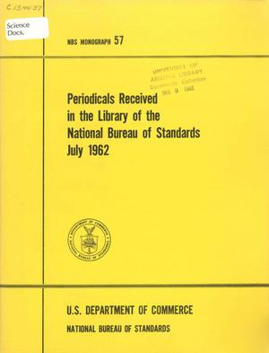 Primary view of object titled 'Publications Received in the Library of the National Bureau of Standards, July 1962'.