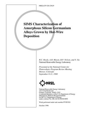 Primary view of object titled 'SIMS Characterization of Amorphous Silicon Germanium Alloys Grown by Hot-Wire Deposition'.