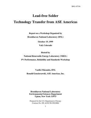 Primary view of object titled 'Lead-free solder technology transfer from ASE Americas'.