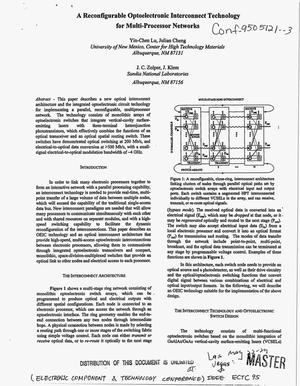 Primary view of object titled 'A reconfigurable optoelectronic interconnect technology for multi-processor networks'.