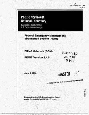 Primary view of object titled 'Federal Emergency Management Information System (FEMIS) Bill of Materials (BOM) for FEMIS version 1.4.5'.