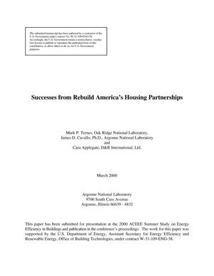 Primary view of object titled 'Successes from Rebuild America's housing partnerships'.