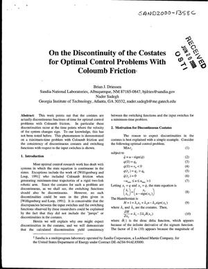 Primary view of object titled 'On the discontinuity of the costates for optimal control problems with Coulomb friction'.