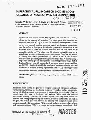 Primary view of object titled 'Supercritical-fluid carbon dioxide (SCCO{sub 2}) cleaning of nuclear weapon components'.