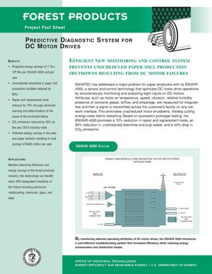 Primary view of object titled 'Predictive diagnostic system for DC motor drives: Forest Products Project fact sheet'.