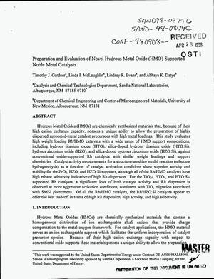 Primary view of object titled 'Preparation and evaluation of novel hydrous metal oxide (HMO)-supported noble metal catalysts'.