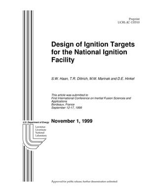 Primary view of object titled 'Design of ignition targets for the National Ignition Facility'.