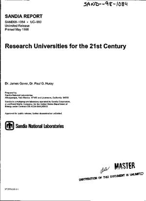 Primary view of object titled 'Research universities for the 21st century'.