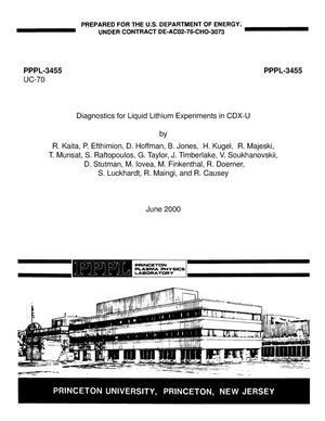 Primary view of object titled 'Diagnostics for liquid lithium experiments in CDX-U'.