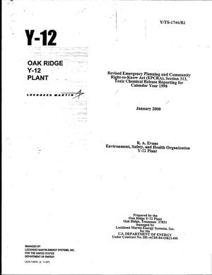 Primary view of object titled 'Revised Emergency Planning and Community Right-to-Know Act (EPCRA), Section 313, Toxic Chemical Release reporting for calendar year 1998'.