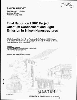 Primary view of object titled 'Final report on LDRD Project: Quantum confinement and light emission in silicon nanostructures'.