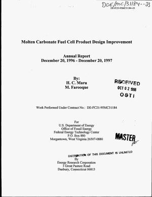 Primary view of object titled 'Molten carbonate fuel cell product design improvement. Annual report, December 20, 1996--December 20, 1997'.