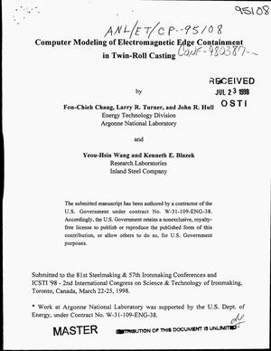 Primary view of object titled 'Computer modeling of electromagnetic edge containment in twin-roll casting'.