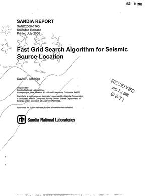 Primary view of object titled 'Fast Grid Search Algorithm for Seismic Source Location'.