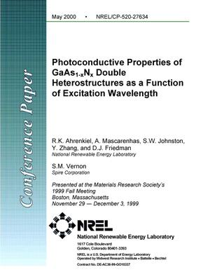 Primary view of object titled 'Photoconductive properties of GaAs{sub 1{minus}x}N{sub x} double heterostructures as a function of excitation wavelength'.