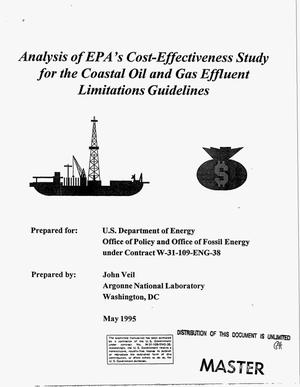 Primary view of object titled 'Analysis of EPA`s cost-effectiveness study for the coastal oil and gas effluent limitations guidelines'.