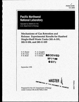 Primary view of object titled 'Mechanisms of gas retention and release: Experimental results for Hanford single-shell waste tanks 241-A-101, 241-S-106, and 241-U-103'.
