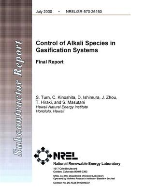 Primary view of object titled 'Control of alkali species in gasification systems: Final report'.
