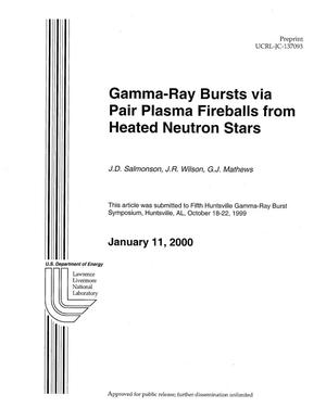 Primary view of object titled 'Gamma-ray bursts via pair plasma fireballs from heated neutron stars'.