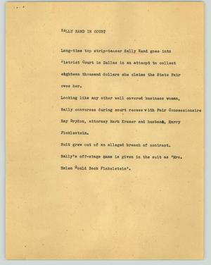 Primary view of object titled '[News Script: Sally Rand in court]'.