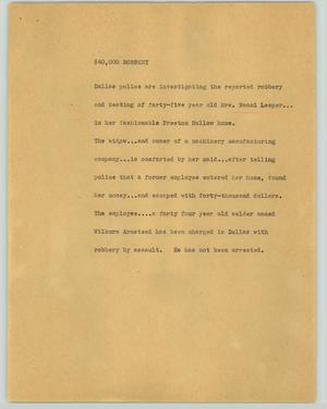 Primary view of object titled '[News Script: $40,000 robbery]'.