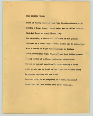 Primary view of object titled '[News Script: Race bombing trial]'.