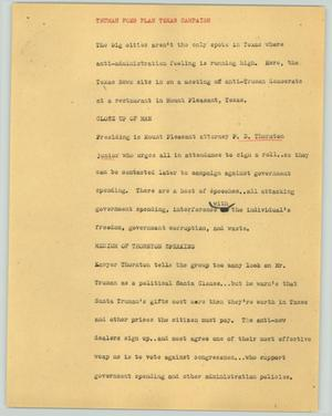 Primary view of object titled '[News Script: Truman foes plan Texas campaign]'.