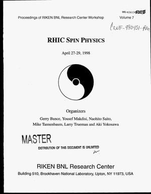 Primary view of object titled 'RHIC spin physics: Proceedings. Volume 7'.