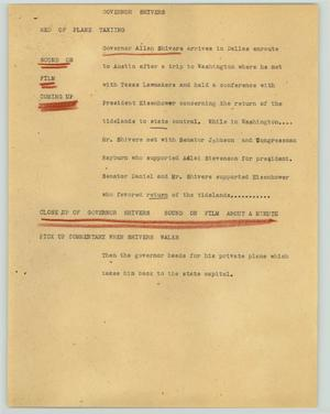 Primary view of object titled '[News Script: Governor Shivers]'.