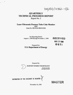 Primary view of object titled 'Laser ultrasonic furnace tube coke monitor. Quarterly technical progress report No. 2 for reporting period August 1, 1998--November 1, 1998'.