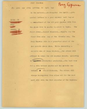 Primary view of object titled '[News Script: Pony express]'.