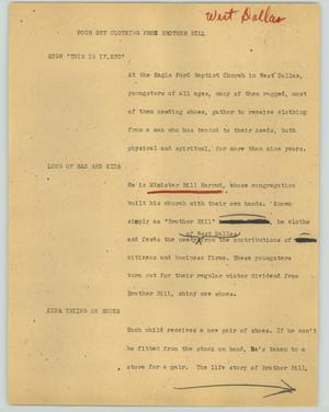 Primary view of object titled '[News Script: Poor get clothing from Brother Bill]'.