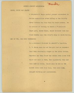 Primary view of object titled '[News Script: Murder suspect surrenders]'.