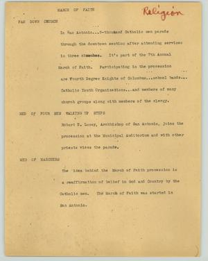 Primary view of object titled '[News Script: March of Faith]'.