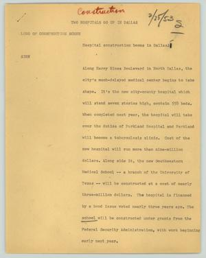 Primary view of object titled '[News Script: Two hospitals go up in Dallas]'.