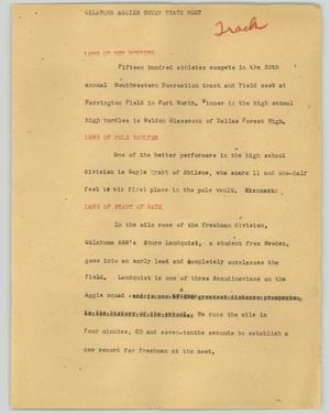 Primary view of object titled '[News Script: Oklahoma Aggies sweep track meet]'.