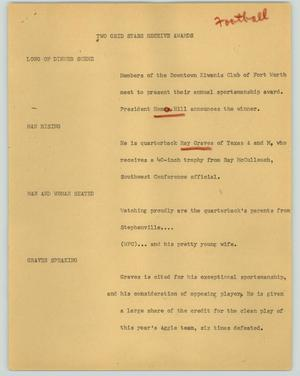 Primary view of object titled '[News Script: Two grid stars receive awards]'.